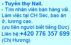 Tuyển thợ Nail+420 776 357 699
